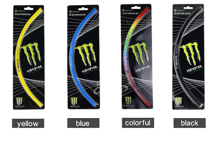 5 Color 16 Strips Motorcycle Car Wheel Stickers Decorative Rim Stripe Tape DECAL(China (Mainland))