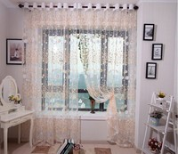 New Arrival printed yellow floral window curtain yarn living room tulle fabric decorative organza