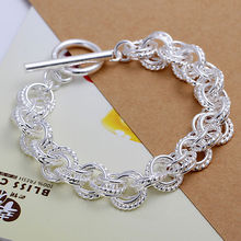 Wholesale 925 Sterling Silver Circle Bracelets Women Silver Bracelets Jewelry Free Shipping LKNSPCH023(China (Mainland))