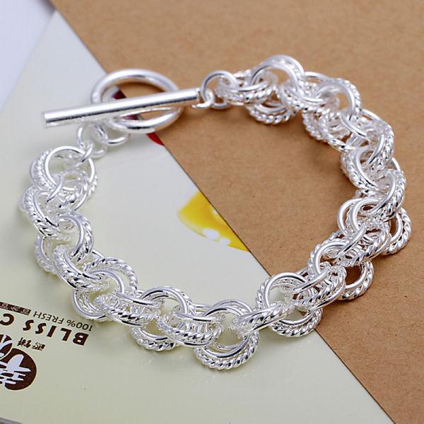 Wholesale 925 Sterling Silver Circle Bracelets Women Silver Bracelets Jewelry Free Shipping LKNSPCH023(China (Mainland))