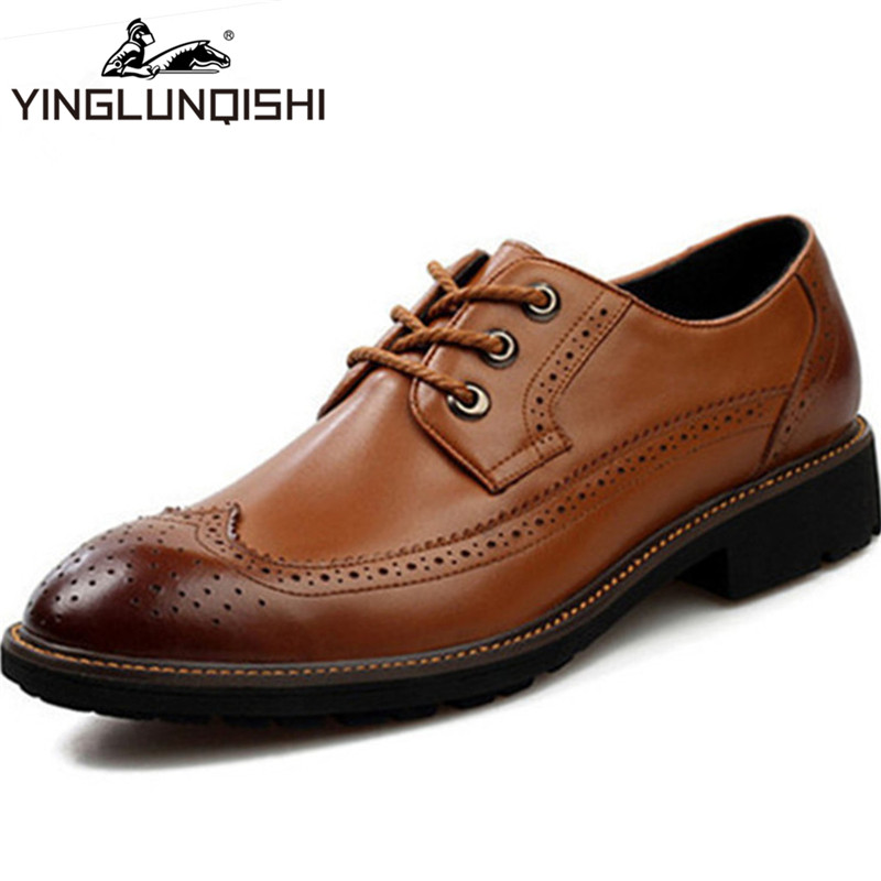 New 2014 Oxford Shoes For Men Dress Shoes Genuine Leather Office Business Leather Shoes Classic Breathable Brown Black Size38-43<br><br>Aliexpress