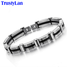 Buy TrustyLan Fashion Design Silicone Bracelet Men Stainless Steel Link Chain Bracelets Bangles Mens Bracelets Jewelry Wristband for $4.09 in AliExpress store