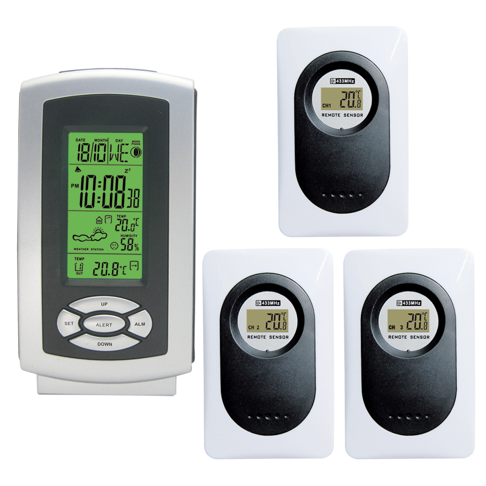 RF Wireless Backlight Weather Station with Indoor Outdoor Temperature Humidity Digital Alarm Clock 3 Remote Transmitters