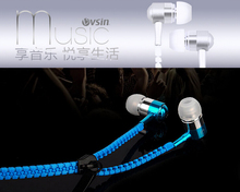 Metal Zipper Earphone Headphones3.5mm Connector Microphone Stereo Bass In-Ear Wired Ear Phones Headset For Mobile Phone MP3/4