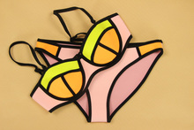 Triangl Swimwear Bikini - 2015 Summer Sexy Swimwear Women Swimsuit Neoprene Bikini Triangle Bikini Push Up Bikini set Bathsuit(China (Mainland))