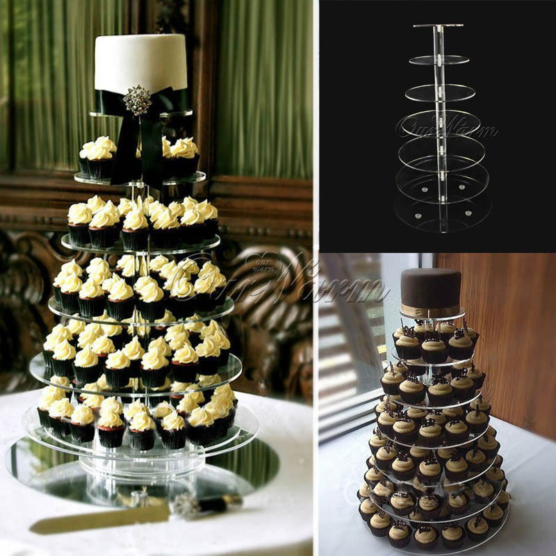 DHL/EMS Free,7 Tier Crystal Clear Circle Acrylic Round Cupcake Stand Wedding Birthday Party Candy Display(China (Mainland))