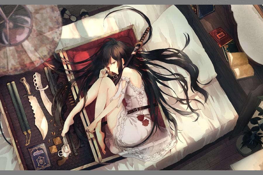 barefoot bed black hair book dress gun katana long hair original sword weapon cloth silk art wall poster and prints(China (Mainland))