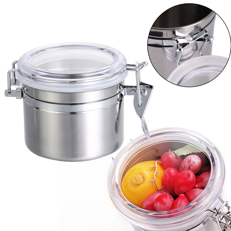 10*7.5cm Coffee Tea Sugar Preservation Airtight Storage Tanks Sealed Cans Canister Jar Home Stainless Steel Kitchen Canisters S(China (Mainland))
