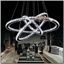 LED Chandeliers Crystal Round Rings Lighting Fixtures Modern Silver Dinning Room Hanging Lamps DIY Style Fast Shipment(China (Mainland))