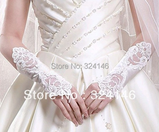 Cheap New design white lace Wedding Gloves fingerless  mesh/ tulle lace glove retail Wholesale