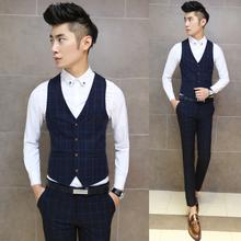 Free shipping new 2015 fashion plaid print men's clothing casual wedding dress vest men slim fit vest for men / MJ3(China (Mainland))