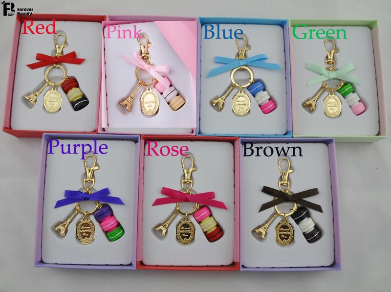 Birthday Gift Macarons Cake Keychain With Box France Paris LADUREE Effiel Tower Macarons Ribbon Keyrings Bag Charm Accessories(China (Mainland))
