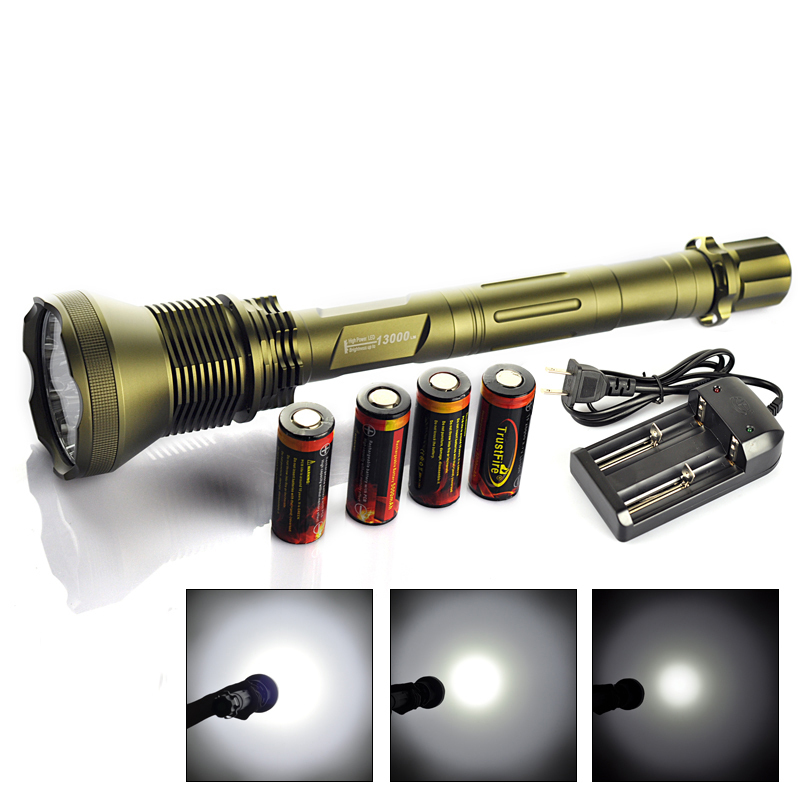 TrustFire AK90 13000 Lumen 12*XML T6 LED Tactical Flashlight 26650 Torch LED Flash Light Hunting Equipment+4x Battery/Charger(China (Mainland))