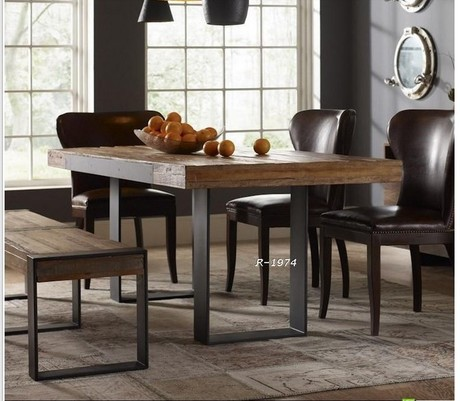 American country pine wood furniture and old vintage wrought iron table desk bench Nordic style wood chair(China (Mainland))