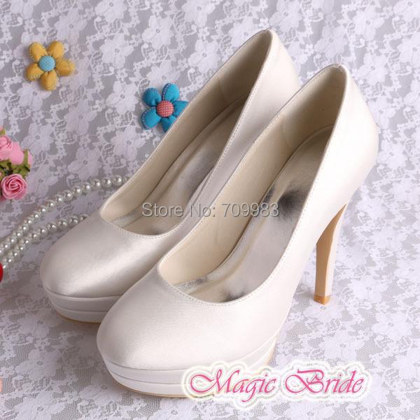 Custom Handmade Double-platform Wedding Shoes Bridal Ivory Satin Spring Autumn Women Pumps<br><br>Aliexpress