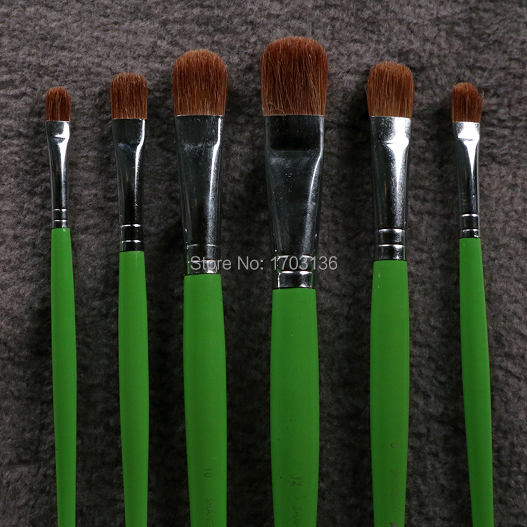 6pcs set bijiasuo brand paint brush weasel hair arc tip for Best paint brush brands