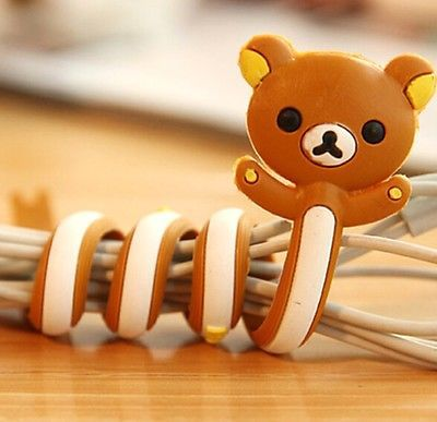 FD2399 Cartoon Earphone Headphone Cable Cord Organize Wrap Wind ~Brown Bear~ 1pc(China (Mainland))