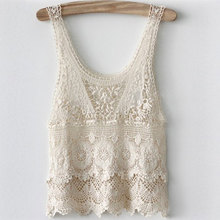 New Women's Embroidery Lace Tank Top Vest Ladies Sexy Floral Lace Blouse Shirt Plus Size Basic Sleeveless Tank Crochet Tops(China (Mainland))