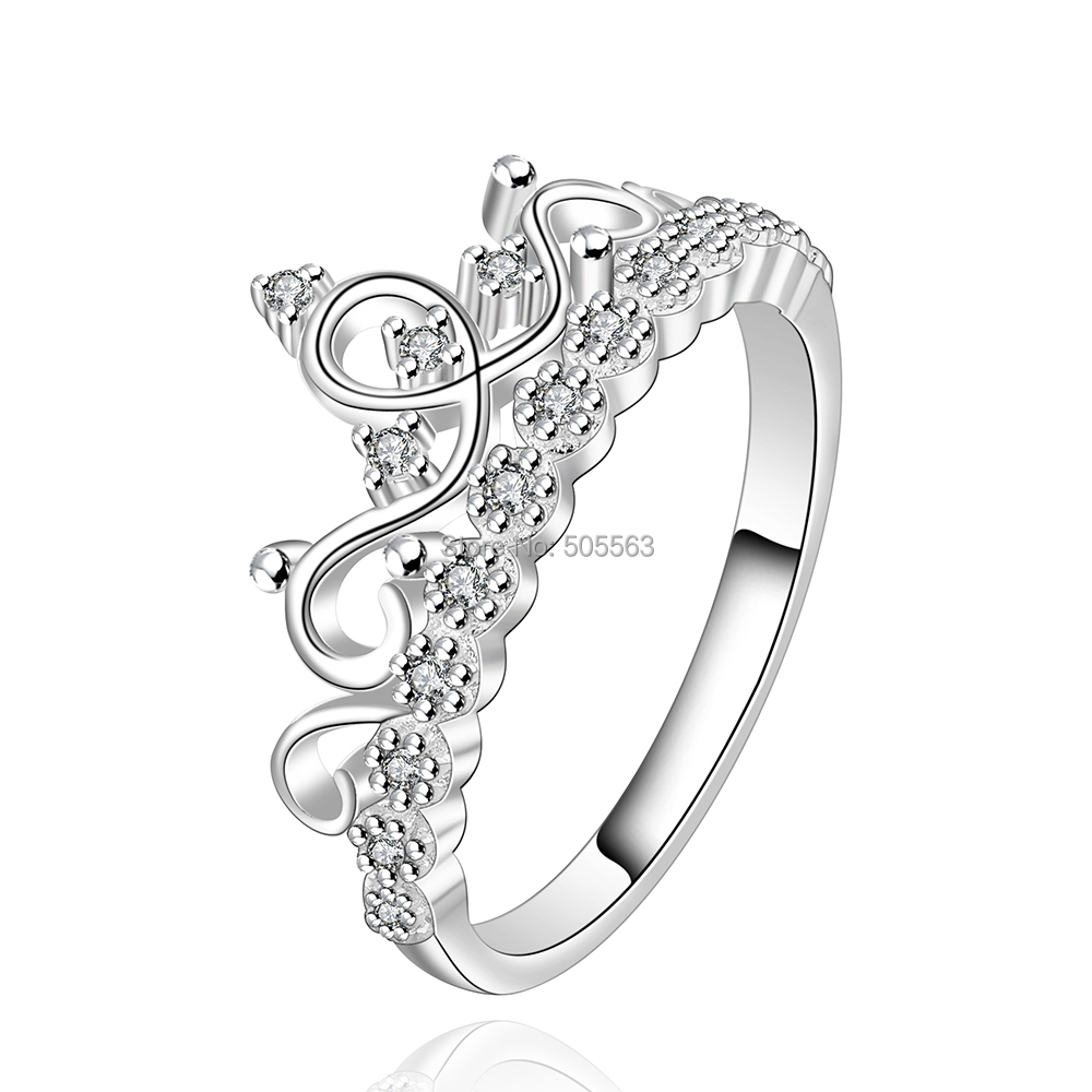 Lose money promotion ! nice fashion crown ring / European silver plated rings crystal jewelry women LKNSPCR526 - Discounts Jewelry Store store