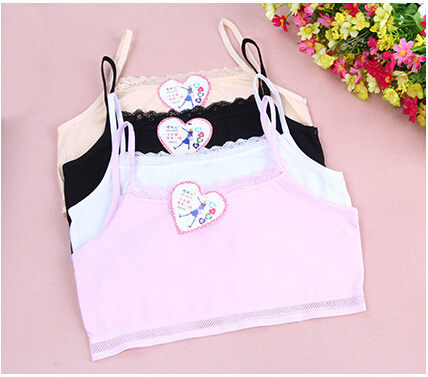 3pcs/lot White Pink Black Y 2015 High Quality Cotton Young Girl Child Bras Free Size Student Training Bra for Kids Bras Children(China (Mainland))