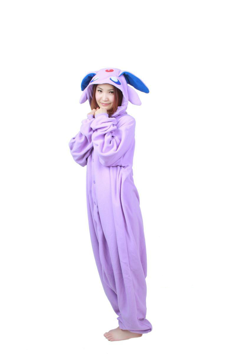 Anime Characters Jumpsuit : Cartoon adult polar fleece women men anime espeon purple