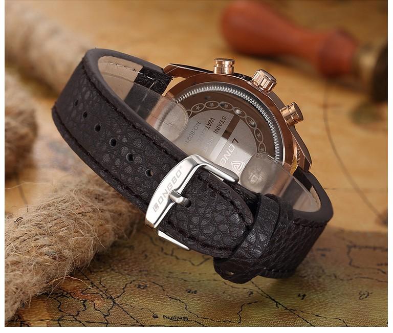 Longbo бренд Geniune кожа часы 2016 мода мужчины водонепроницаемый авто дата часы бизнес свободного покроя наручные часы Relogio Masculino горячий