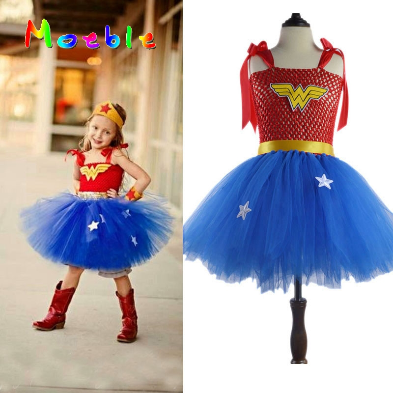 Superhero Girls Wonder Woman Tutu Dress G Cosplay Costume Christmas Birthday Dress Up Tutu Dress Baby Photo Props DT-1621(China (Mainland))