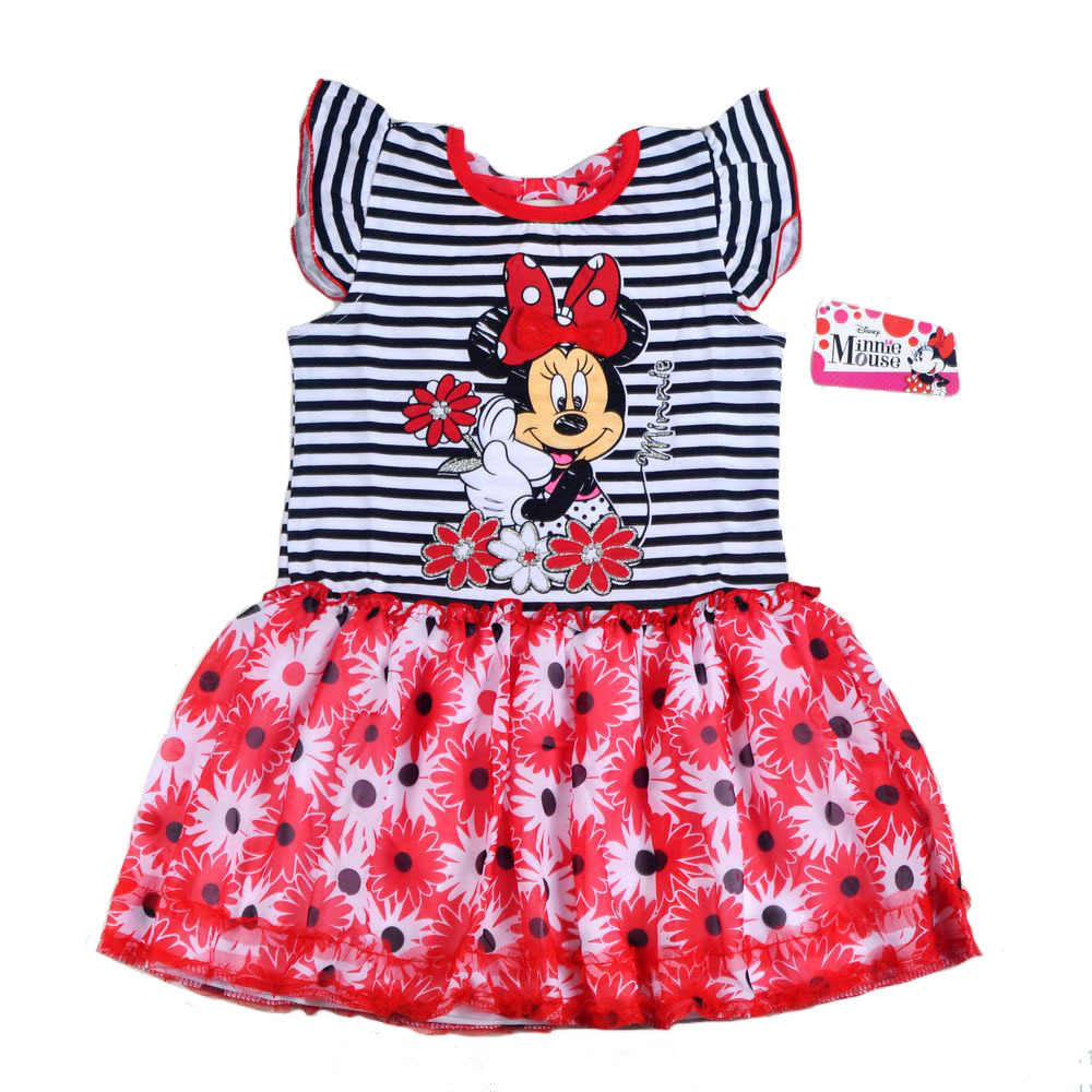 Original brand,4Pieces/lot [4-6X] Baby Girls Cute Minnie Mouse Short Sleeve Cotton Top Dress,Minnie Mouse Dress for Summer<br><br>Aliexpress