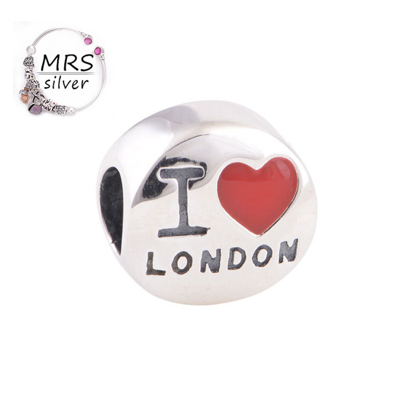 Tibetan Silver Beads Red Enamel Heart Shaped Charm Engraved With I Love London Sterling Silver 925