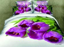 3D Purple tulip floral comforter bedding set queen comforters sets duvet cover quilt bed linen sheet bedspread oil painting(China (Mainland))