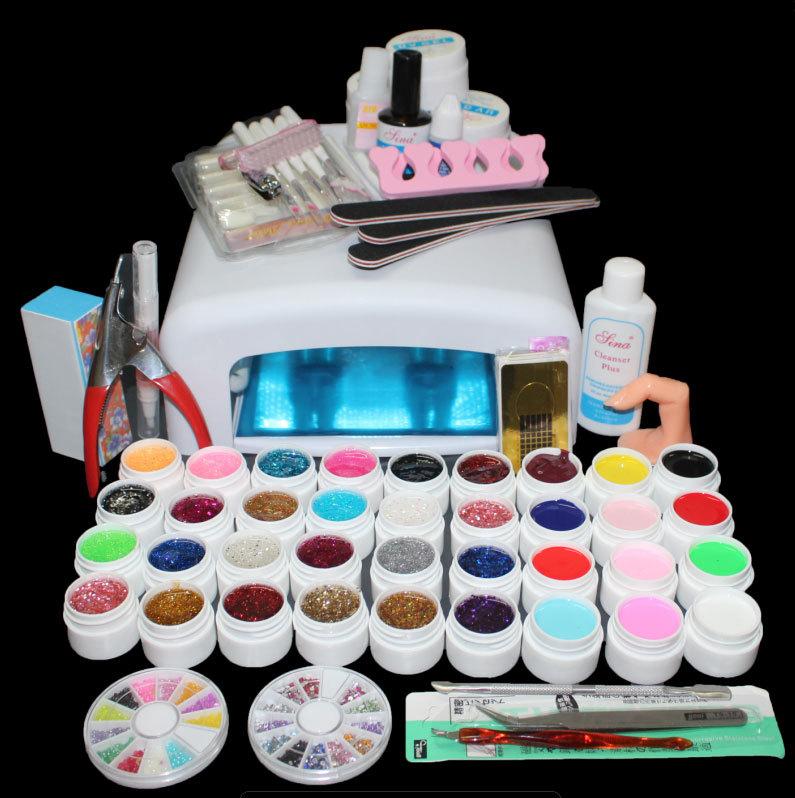 EM-111 Free Shipping New Pro 36W UV Lamp & 36 Colors UV Gel kit, Nail Art Manicure Tools Sets Kits(China (Mainland))