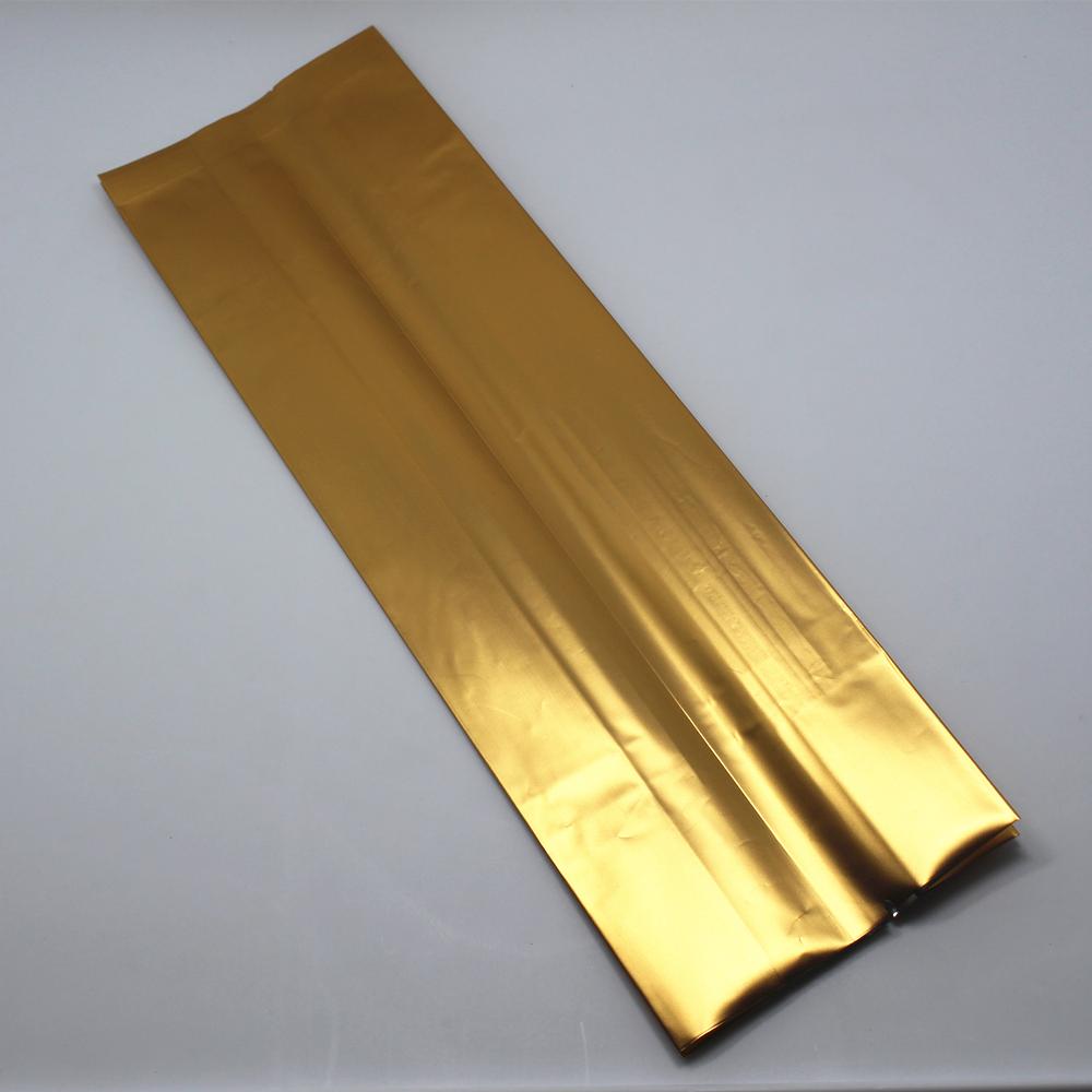 6.5*22+4cm 50Pcs/ Lot Golden Organ Bag Vacuum Open Top Aluminum Foil Bellows Pocket For Tea Snack Storage Mylar Packaging Bags(China (Mainland))