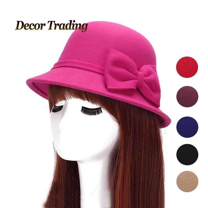 2015 New Wool Felt Women Fedora Hat Autumn Winter Bowknot Hats Lady Fedoras Bucket Hat Dome Shade Feminino(China (Mainland))