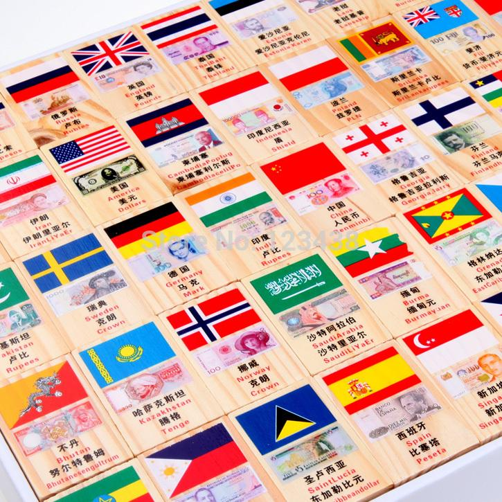 Wooden Educational National Flag and Currency Domino Building Blocks Toys , 1set=100pcs(China (Mainland))