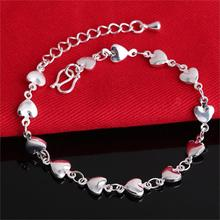 2016 New Fashion Silver Heart Bracelets Bangles Women Big Brand Design Charm Jewelry High Quality Wedding Christmas Gift Hot(China (Mainland))