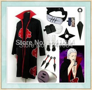 Free Shipping Naruto Akatsuki cloak Deidara Cosplay Costume(China (Mainland))