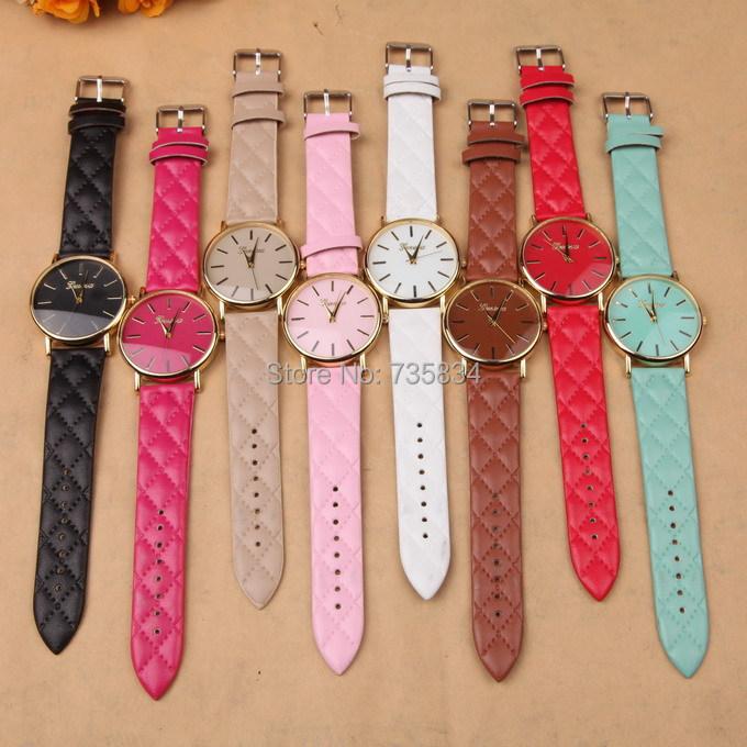 Здесь можно купить  Wholesale 50pcs/lot Mix 9Colors new popular wrist watch vintage women wristwatches leather band quartz watch Geneva watch GW191  Ювелирные изделия и часы
