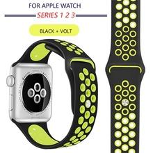Новый дышащий Силикон Спортивный ремешок для Apple Watch 4 3 2 1 42 мм 38 мм резиновый ремешок для Nike + Iwatch 4 3 40 мм 44 мм(China)
