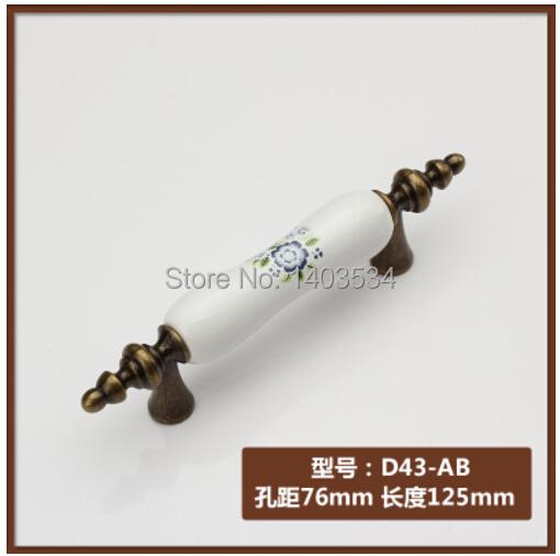 6pcs 90mm ceramic Zinc alloy antique brass handle  cabinet handle drawer pulls Blue flower print<br><br>Aliexpress