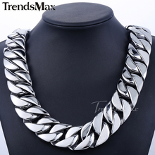 Buy Trendsmax 31mm Super Heavy Curb Cuban Boys Mens Chain Silver Tone 316L Stainless Steel Necklace Custom Wholesale Jewelry HN35 for $57.92 in AliExpress store