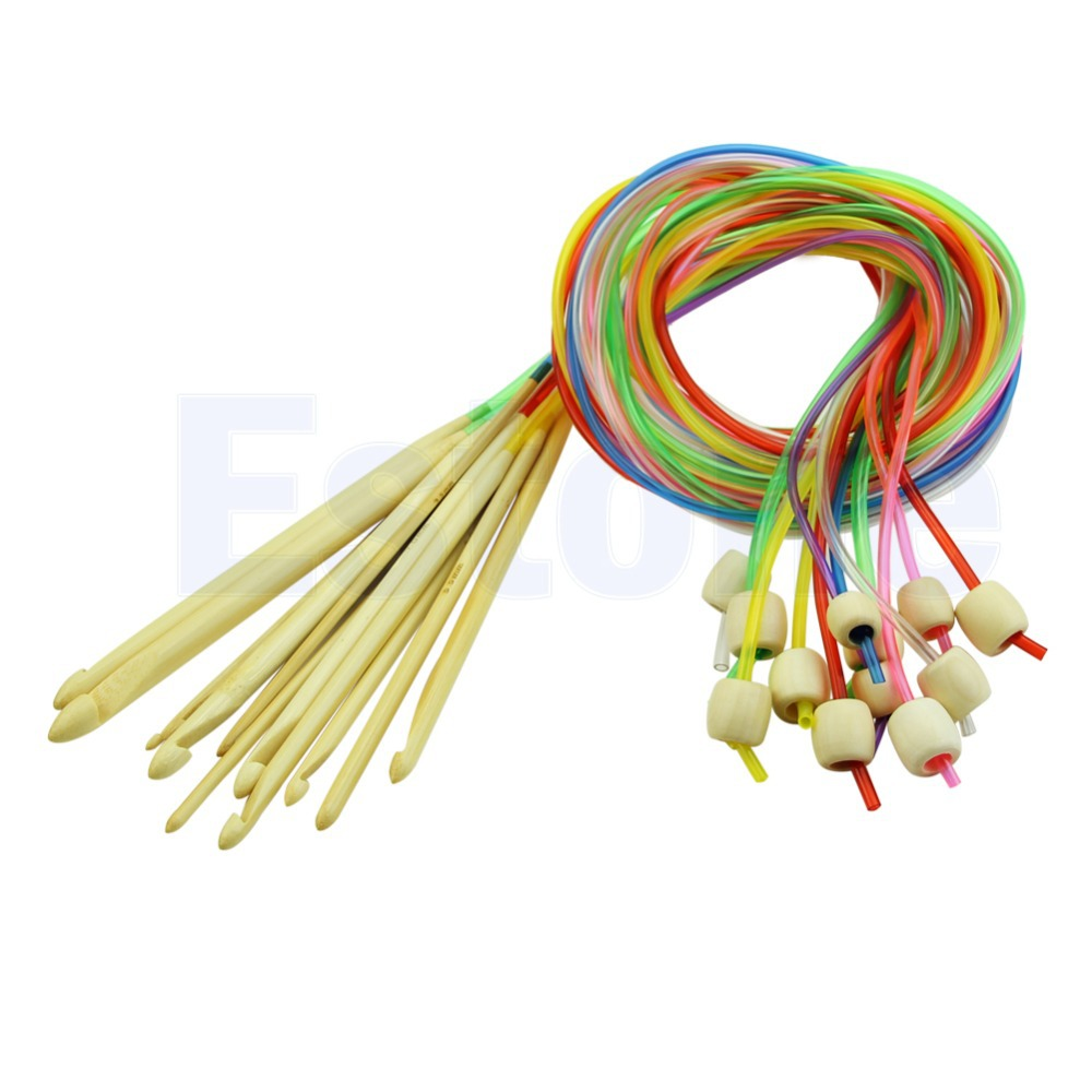 12pcs Colorful Plastic Carpet Rug Circular Crochet Hook Needles Knit 3.0-10mm