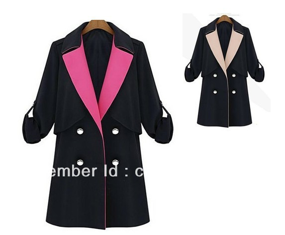 2013 Autumn Coat Women Casual Blazer Long Sleeves Suits Ladies Jacket Contrast Collar Fall  Fashion plus size S M L XL with belt