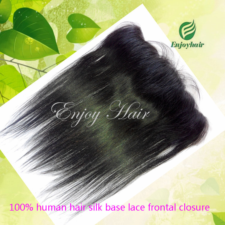 """Free shipping 5A indian hair silk lace frontal straight silk base frontal closure,13"""" x 4"""" front lace closure lace frontal(China (Mainland))"""