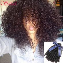 Brazilian Virgin Hair 3 Bundles Kinky Curly Virgin Hair Afro Kinky Curly Hair 10A Unprocessed Afro Kinky Curly Weave Human Hair(China (Mainland))