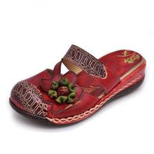 2015  Women Flat Heel Sandals Closed Toe Flower Ethnic Style Handmade Genuine Leather Personalized Women Slippers(China (Mainland))