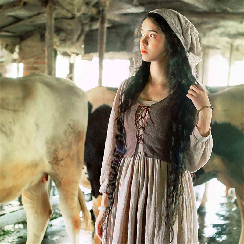 BOHOCHIC Original Vintage French Rural Country Girl Robe Cotton Linen Women Long Dress Pure Manual Cutting SG0005C Boho ChicОдежда и ак�е��уары<br><br><br>Aliexpress