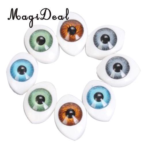 4 Color 8pcs Oval Hollow Back Plastic Eyes For Doll Mask DIY 6mm