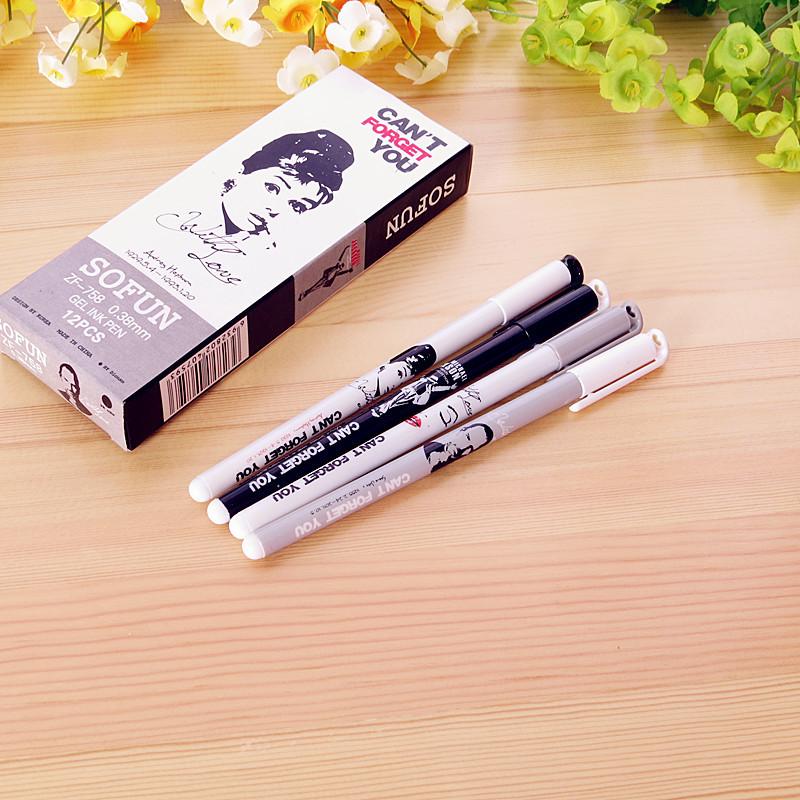 Гаджет  Korean models stationery fresh retro commemorative models celebrity idols black gel pen 0.38mm escritorio material escolar None Офисные и Школьные принадлежности