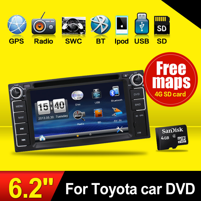 Touch Screen Car DVD GPS Navigation 2DIN For toyota Stereo Radio Bluetooth USB/SD Universal Player audio stereo parking free cam(China (Mainland))