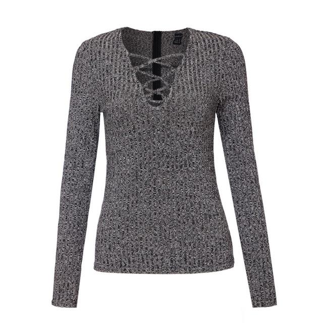 Женщины сексуальная v шеи вязаный свитер повязку Плюс размер пуловер кружева до Упругой ...